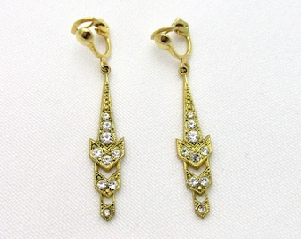 Beautiful vintage vintage fancy earrings gilded art deco rhinestone style