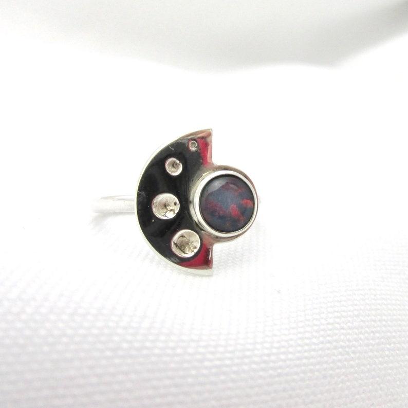 925 silver half moon and harlequin opal cabochon T 53 minimalist jewel designer jewel Half circle ring