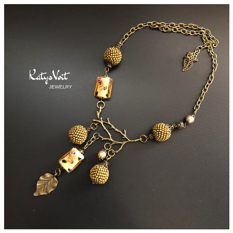 Autumn necklace Brown Brass Necklace Ball pendants  Elegant sphere pendant necklace Women gift  Beadwork necklace  Jewelry for her