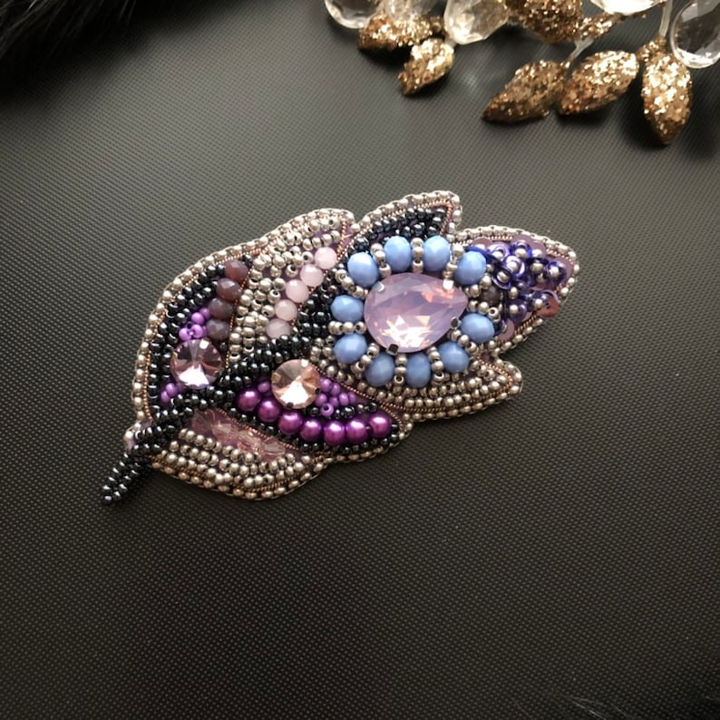 Violet jewelry Brooch feather Brooch leaf Blue Violet Purple brooch Beadwork  Gift for her Women gift Beadwork gift Birthday Boho brooch