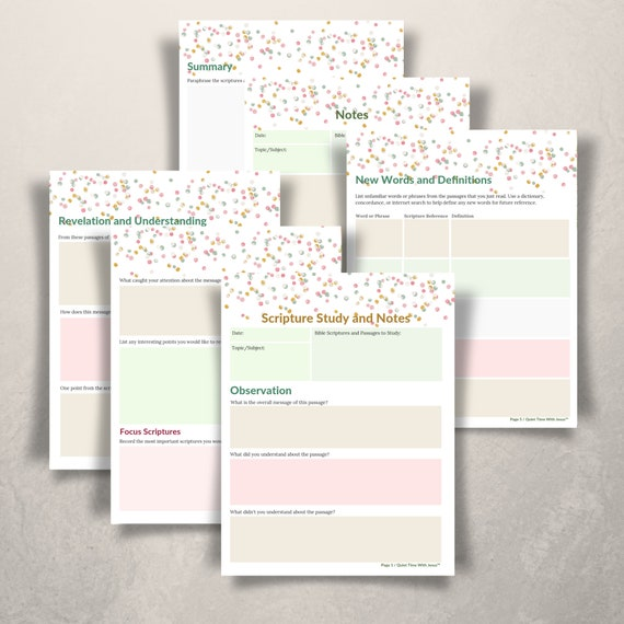 photo about Printable Revelation Bible Study called Confetti Notes Religion Based mostly Printable // Bible Magazine // Scripture Examine Advisor and Notes Webpages // Quick Obtain // Bible Investigation Notes