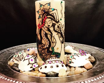 Mermaid Sea Shell Henna Candle Set