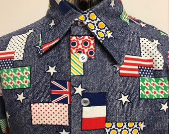 "Original 1960s 1970s Thick Cotton Flannel Shirt with Crazy Flag & Star Print UK USA France Button Down Long Sleeve Size 42"" Free UK Post"