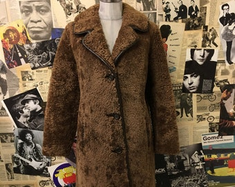 a5a7a540a7772 Womens Vintage Swedish Lamb Fur Coat by Skandipals Brown Teddy Bear Curly Size  14 UK Approx Free Cheap UK   Worldwide Postage