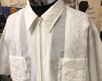 4a8b04847b6 Genuine Brand Haband Guayabera Shirt White Short Sleeve White Summer  Rockabilly Size XL Free UK   Cheap Worldwide Postage
