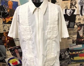 a98b42721b6 Vintage The Genuine Haband Guayabera Shirt Zip White Short Sleeve  Rockabilly Summer Size Large Free UK   Cheap Worldwide Postage