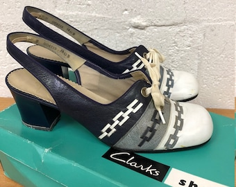 fd4f4697e2ac Amazing Rare Original Vintage 1960s Clarks Wessex Weave Connie Shoes Leather  Sling Back Lace up Mod GoGo UK Size 4.5 Free UK Post