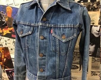 9c12f24cd1665 Vintage Original 1970s Levi Strauss   Co Denim Jacket Jean Jacket Blue  Faded Size XS Petite UK 6 Free UK Post