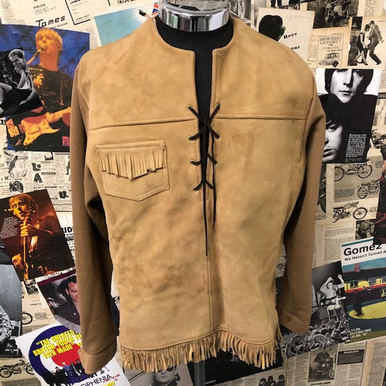 48f804f7b Vintage Suede Western Pull Over Jacket by SEARS Beige Cowboy Size Medium  Free UK & Cheap Worldwide Postage