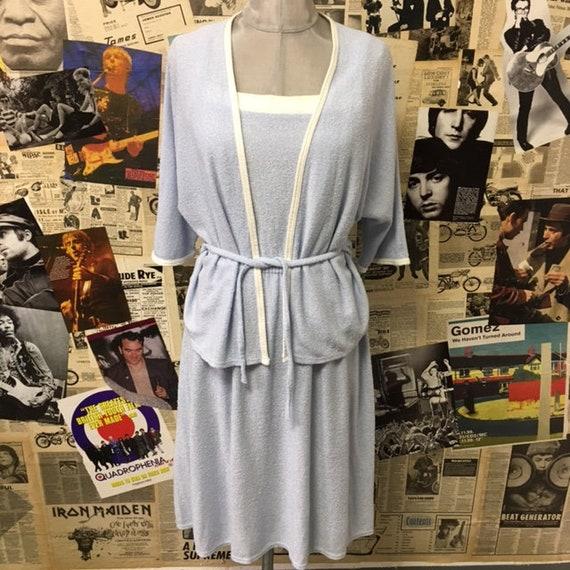 afe112cdfe587 Original Vintage 2 Piece 1960s Terry Towelling Dress Cardigan Blue White  Aline Mod Size UK 10-12 Free UK & Worldwide Postage
