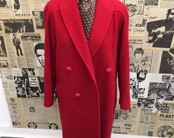 Vintage 1980s Aquascutum Red Wool Double Breasted Coat Overcoat Approx Size 14 FREE UK & CHEAP Worldwide Post