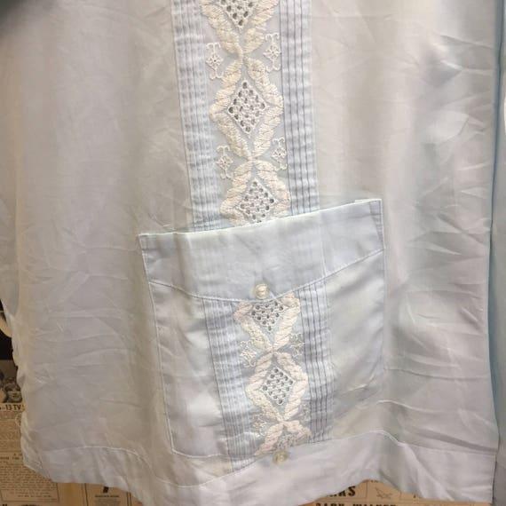 Original Vintage des années 1950 Guayabera chemise Haband cubaine par Haband chemise bleu coton blanc broderie faite en Corée 3XL UK gratuit frais de port et bon marché dans le monde entier 246644