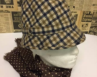 Original 1960s Vintage Aquascutum Hat in Beige and Blue Check Size Large FREE UK & Cheap Worldwide Postage