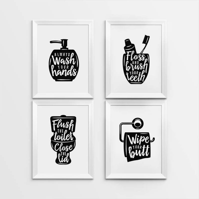 picture about Printable Bathroom Quotes known as Rest room wall decor, Printable Artwork, Gallery prints fixed of 4, Clean arms indicator, Brush tooth indication, Flush bathroom indicator, Lavatory artwork