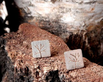 Trees Small Earrings - Sterling Silver Stud Earrings - Nature Inspired Jewelry - Perfect Gift