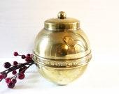 Vintage brass tea box tea caddy British Empire Exhibition 1924 Lipton 39 s souvenir bowl ginger jar lidded brass pot Boho kitchen decor