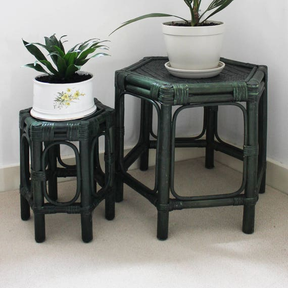 Etsy Vintage Bamboo Furniture: Vintage Rattan Furniture: Bentwood Plant Stand Bamboo Side