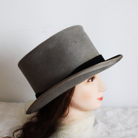 60900404e34 56cm 22 Vintage grey felt hat man hat lady hat woman