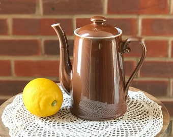 Vintage teapot retro coffee pot chocolate pot caramel brown ceramic teapot farmhouse cottage decor England Royal Worcester watering can