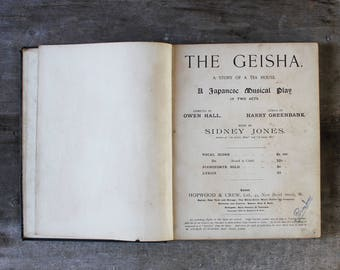 Antique sheet music book old songs for piano English 19 century gift for classical musician music lover teacher collector The Geisha