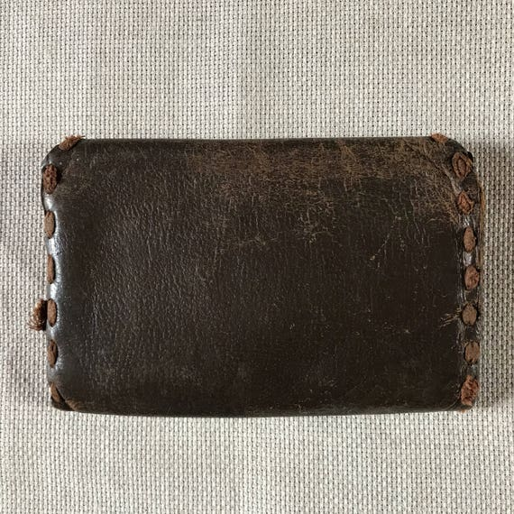 0068c8910e7d Vintage unisex wallet small leather bag brown old purse