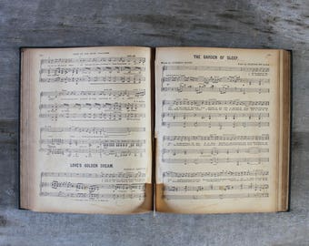 Antique sheet music book old songs for piano English 19 century gift for classical musician music lover teacher collector music collection