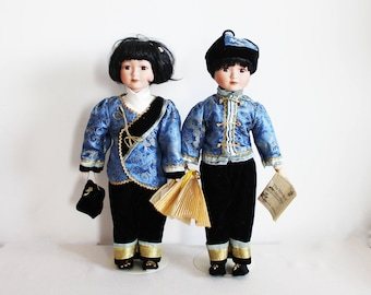 """Chinese New Year gift 16"""" vintage porcelain doll Decorative collectable doll toy room decor The House of Valentina Ying and Yang Blue black"""
