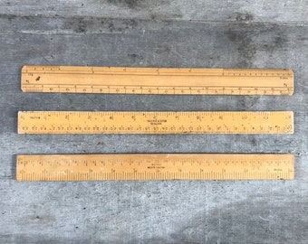 Vintage ruler wooden rule meter stick antique pocket ruler tool yardstick England mid-century office desk decor inches geometry maths tool
