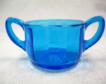 Vintage Cobalt Blue Sugar Bowl With Handles