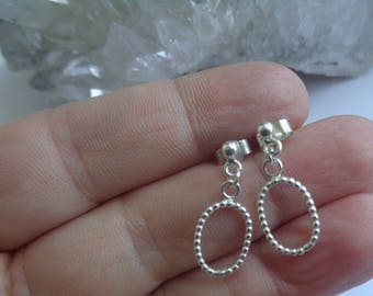 Beaded Wire Oval Stud Earrings. Sterling Silver Handmade Stud Earrings. Airy Style Handmade Earrings. Fair Trade Jewelry.