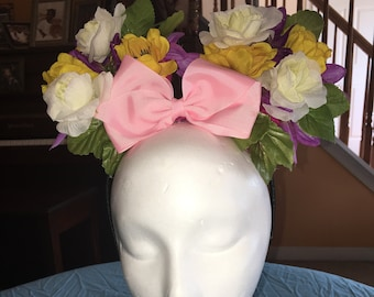 Crocheted Floral Minnie Mouse Ears