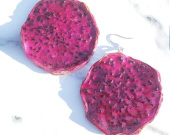 Dragon Fruit Earrings Med