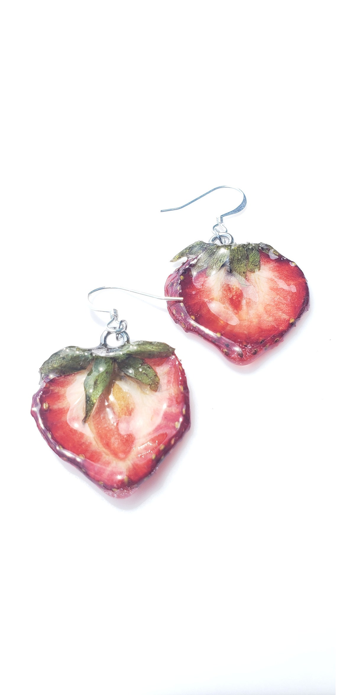 Strawberry Earrings XS real fruit jewelry fruit jewelry image 0