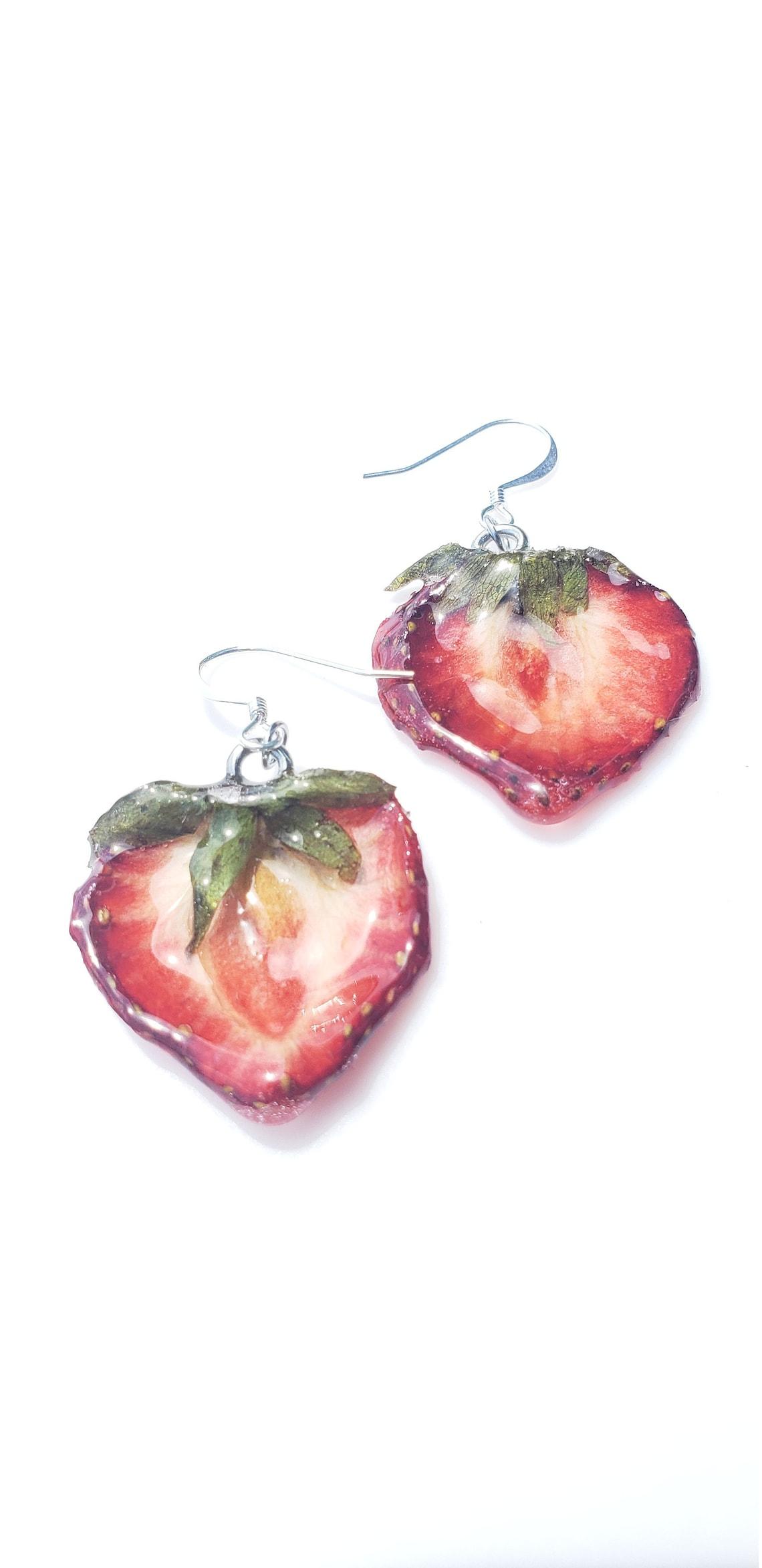 Strawberry Earrings XS real fruit jewelry fruit jewelry image 0