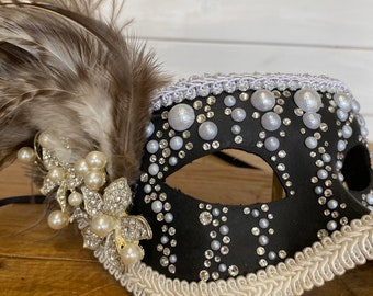 Sage green crystal ball mask Green lace mask Couture mask Rhinestone mask Venetian Masquerade mask with pearls OOAK mask Silver mask