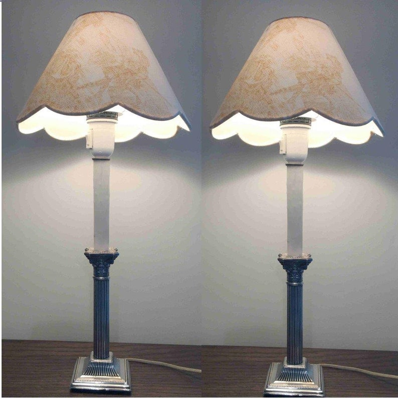 Pair Of Antique Bronze Lamps Vs Custom Shade. Other Antique Home & Hearth Antiques