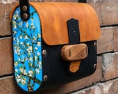 natural leather brown bag with paint,Vincent van Gogh Almond Blossoms,handmade leather bag by cosmo handmade,bag with wooden lock,gift ideas