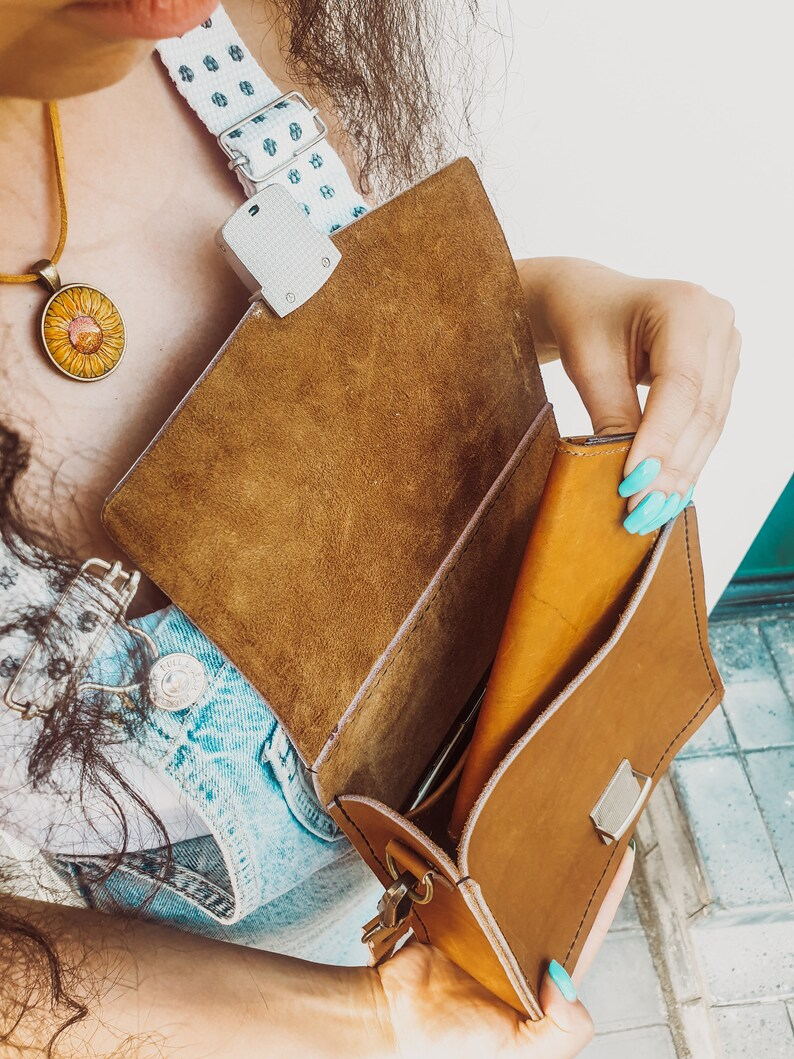 Cross Body bag handpainted shoulder crossbody purse Sunflower Painting