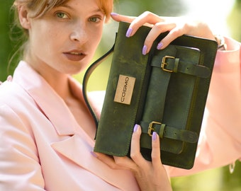 Briefcase Green, Fashion Leather Bag for Men/women, Birthday gift, Briefcases & Attaches, Top Handle Satchel Shoulder Bag, Personalized gift