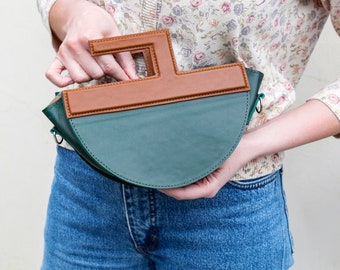 Real leather handbag, Off shoulder bag, Leather clutch purse with handle, Classic shoulder bags and purses for women, Green leather handbag