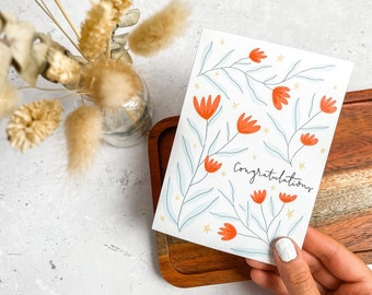 Congratulations, Floral Card, Plain Card, Graduation, Engagement, Greeting Card, Well Done, UK, A6