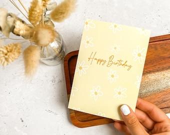Happy Birthday, Simple Floral, Plain Card, Birthday, Flower, Daisy, Greeting Card, UK, A6
