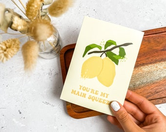 Lemon Happy Birthday Card, You're My Main Squeeze, Plain Card, Birthday, Greeting Card, Eco Friendly Packing, UK, A6