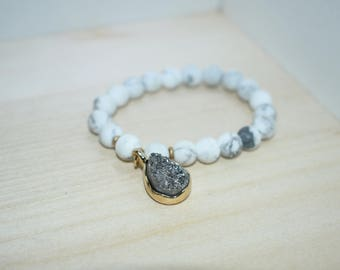 Natural Druzy Charm Beaded Bracelet