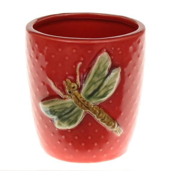 Round Red Dragonfly Pot Bamboo Pot Succulent Cactus Pot Etsy