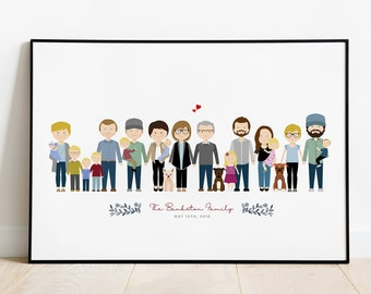 Custom Family Portrait, Family Illustration, Personalized Portrait, Anniversary Gift, Fathers Day, Mothers Day, Family Art Print
