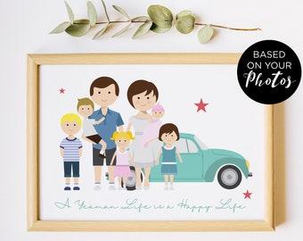 Illustration de famille personnalisé, portrait de couple personnalisé, dessin de famille avec les animaux, anniversaire de mariage