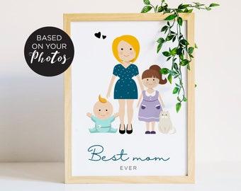 Portrait de famille personnalisé, cadeau fête des pères, illustration de famille avec les animaux, cadeau de mariage, cadeau de crémaillère