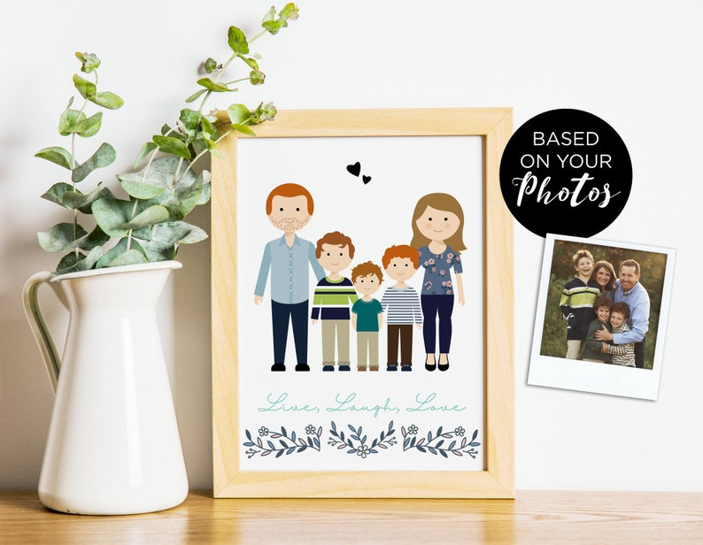 Custom portrait personalized family drawing anniversary image 0