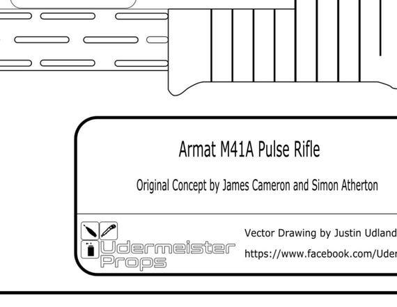 Aliens m41a pulse rifle blueprint from udermeisterprops on etsy studio malvernweather Choice Image